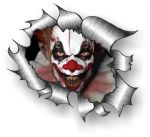 Ripped Torn Metal Design With Evil Horror Clown Motif External Vinyl Car Sticker 105x130mm